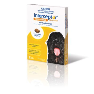 Interceptor Spectrum For Medium Dogs 11-22 kg (24-48 lbs), 3 Tasty Chews